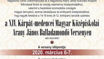 Felhívás a XIV. Kárpát-medencei Magyar Középiskolai Arany János Balladamondó Versenyen való részvételre - illusztráció