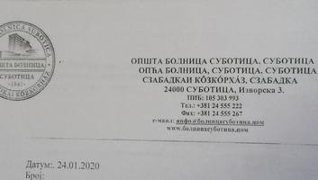 VMSZ: A Szabadkai Közkórház  megsértette a hivatalos nyelv- és íráshasználatról szóló törvény rendelkezéseit - illusztráció