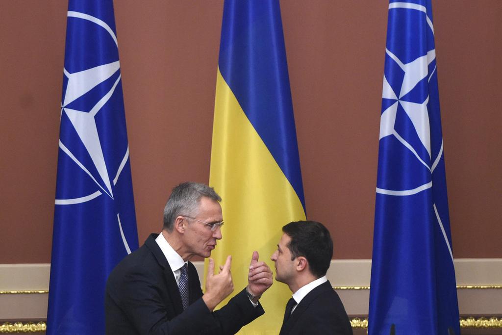 Jens Stoltenberg Nato főtitkár és Volodimir Zelenszkij találkozója Kijevben 2019. október 31-én