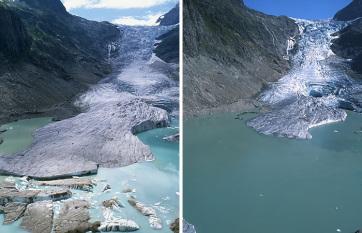 Drámaian zsugorodnak az Alpok gleccserei a globális felmelegedés miatt - A cikkhez tartozó kép