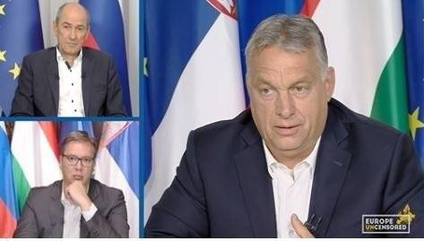 Janez Janša szlovén miniszterelnök, Aleksandar Vučić szerb államfő és Orbán Viktor miniszterelnök az online konferencián