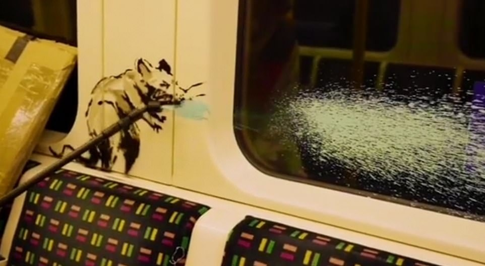 Banksy egyik tüsszentő patkánya