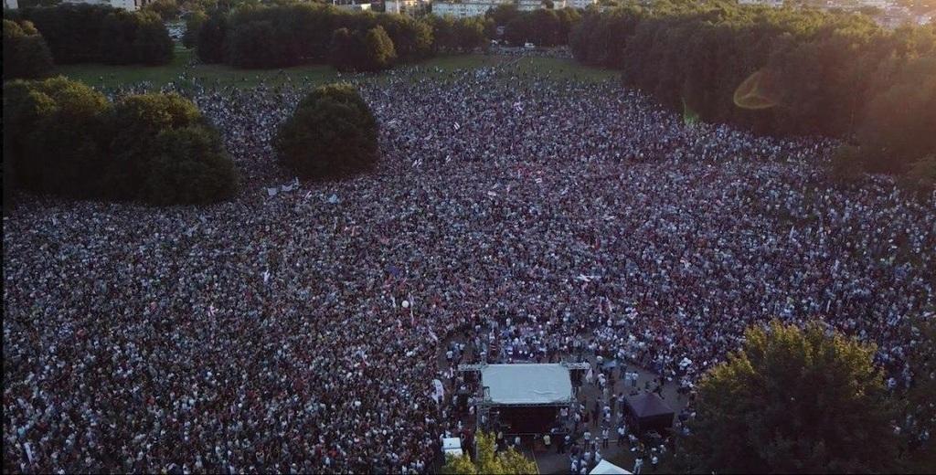 A csütörtök esti tüntetés Minszkben