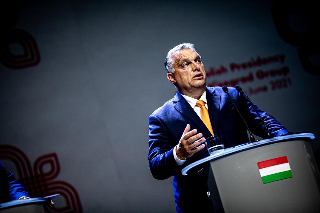Orbán Viktor miniszterelnök beszédet mond a V4-ek kormányfőinek a délkelet-lengyelországi Lublinban tartott pénteki találkozóján