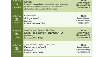 A Zentai Magyar Kamaraszínház októberi programja - illusztráció