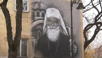 Falfestmény a pátriárka emlékére egy védett szabadkai épületen - illusztráció