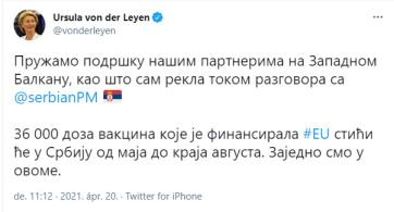 Ursula von der Leyen cirillbetűs Twitter üzenete: Ebben együtt vagyunk - A cikkhez tartozó kép