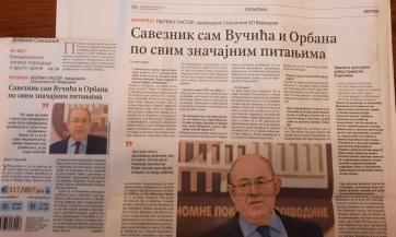 Pásztor István: Minden fontos kérdésben Orbán és Vučić szövetségese vagyok - A cikkhez tartozó kép