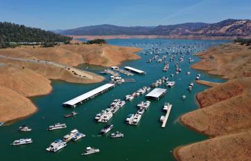 A szárazság miatt szinte teljesen eltűnt egy hatalmas tó Kaliforniában - A cikkhez tartozó kép