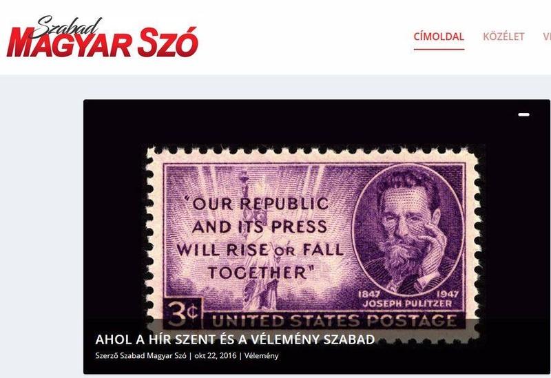 Szabad Magyar Szó a napilap internetes oldalán