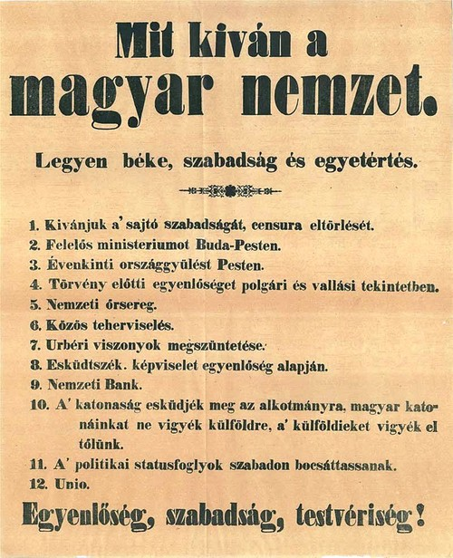 1848. március 15.: Legyen béke, szabadság és egyetértés