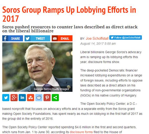 Amerikai konzervatív portál: Soros Magyarország ellen is lobbizott