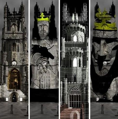 A walesi bárdokat megelevenítő fényjátékkal tisztelegtek Cardiffban Arany János emléke előtt