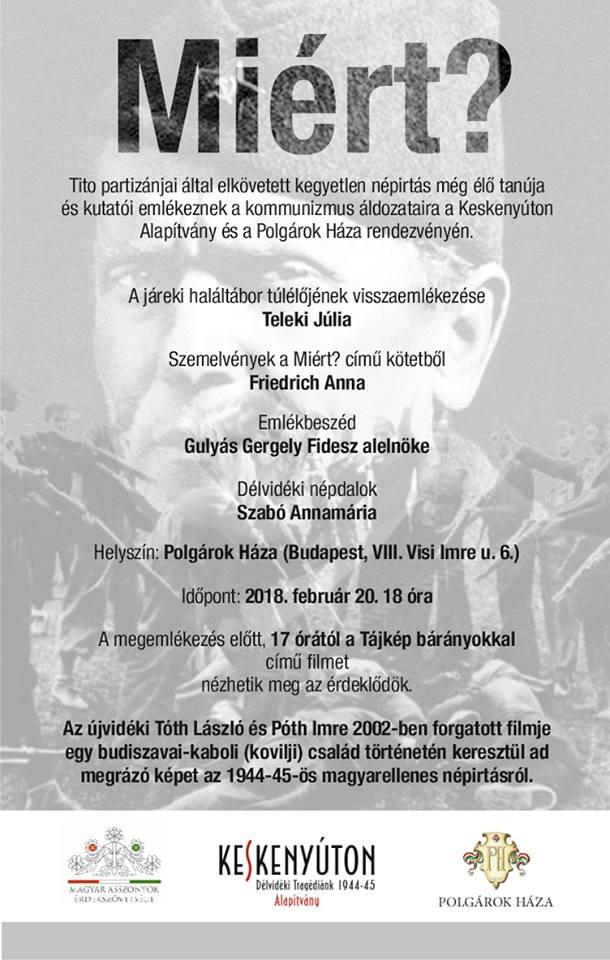 A kommunizmus délvidéki áldozataira emlékeznek ma Budapesten